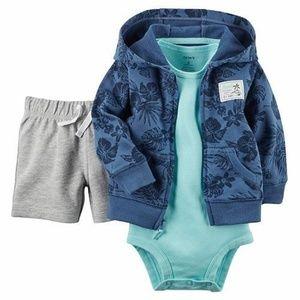 Carter's Hoodie Jacket Bodysuit & Shorts Set